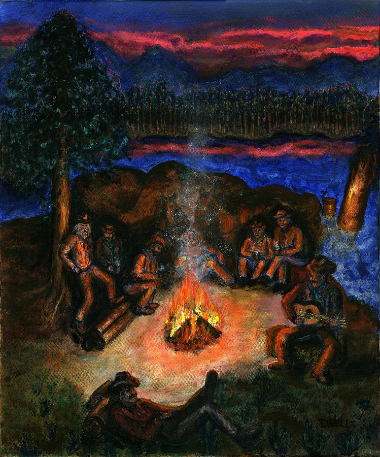 Cowboys Painting - Cowboys Mountain Camp at Night by Tanna Lee M Wells
