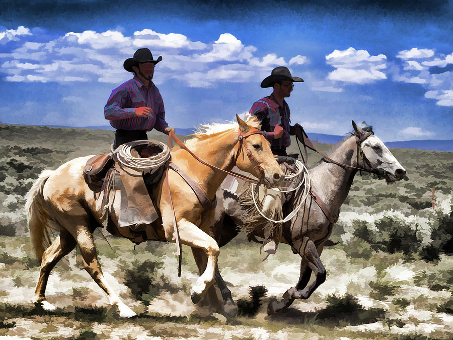Cowboys on Horseback riding the range by Nadja Rider
