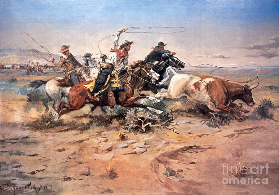 Cowboys Painting - Cowboys Roping A Steer by Charles Marion Russell