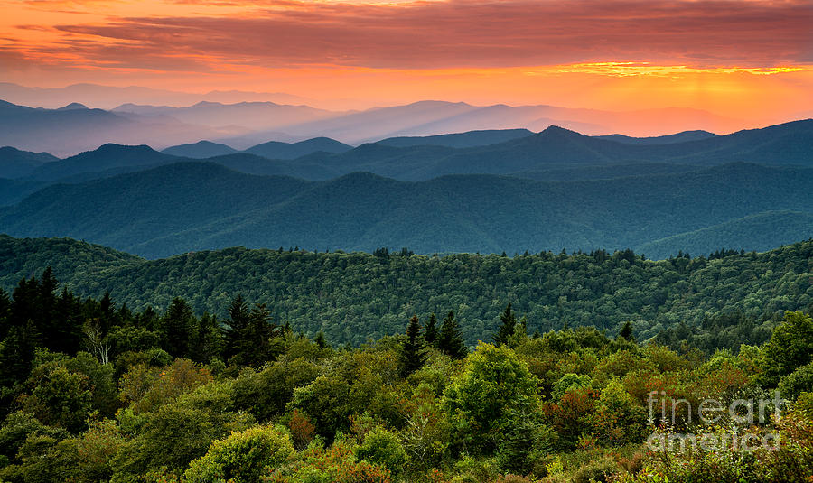 Blue Ridge Parkway Photograph - Cowee Sunset. by Itai Minovitz