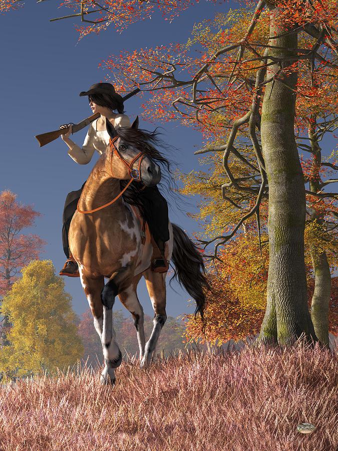 Cowgirl Digital Art - Cowgirl Autumn by Daniel Eskridge