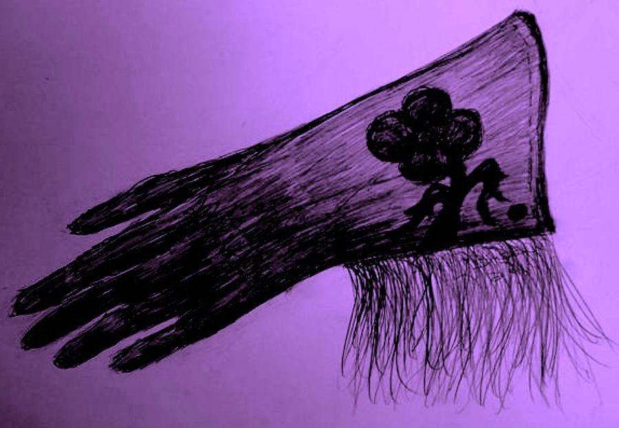 Black Drawing - Cowgirl Glove Plum Classy by Susan Gahr