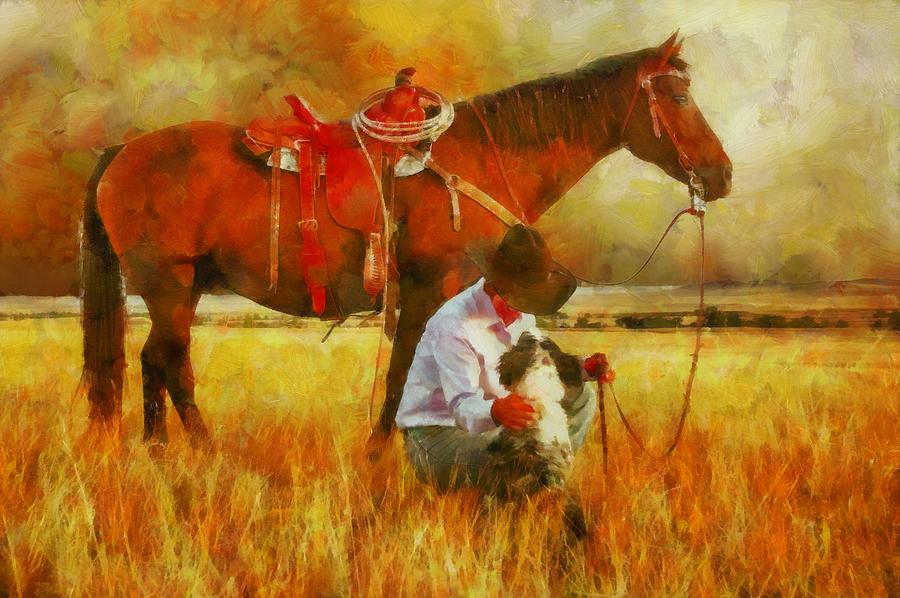 Cowgirl In An Autumn Field Digital Art