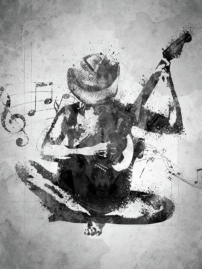 Guitar Digital Art - Cowgirl In The Sand White And Black by Aged Pixel