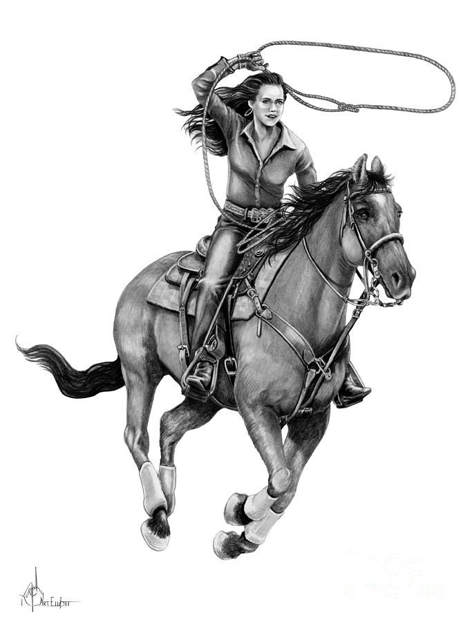 Pencil Drawing - Cowgirl  by Murphy Elliott