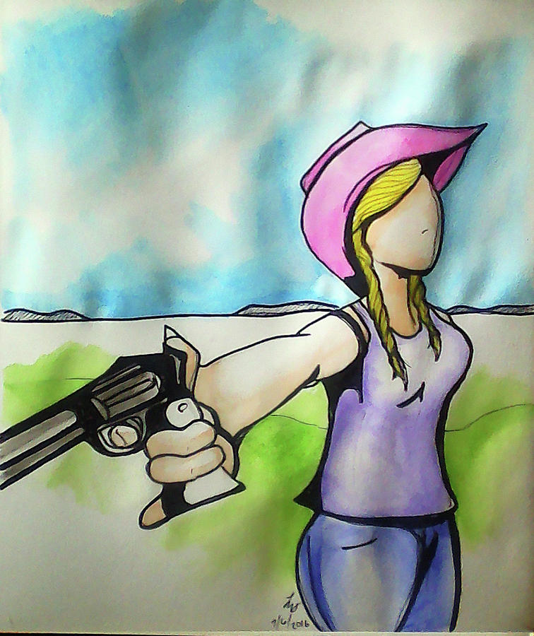 Cowgirl Painting - Cowgirl With Gun by Loretta Nash