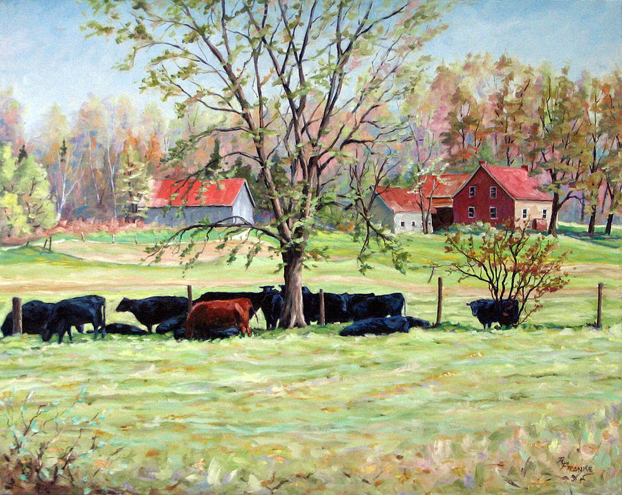 Cows Painting - Cows Grazing In One Field  by Richard T Pranke