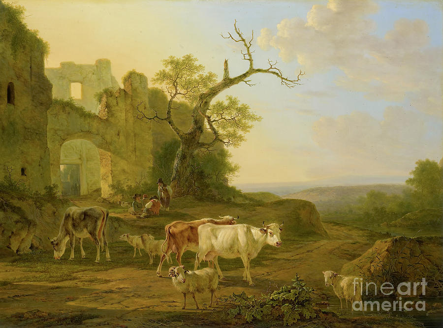 cows in a Meadow Painting by Celestial Images