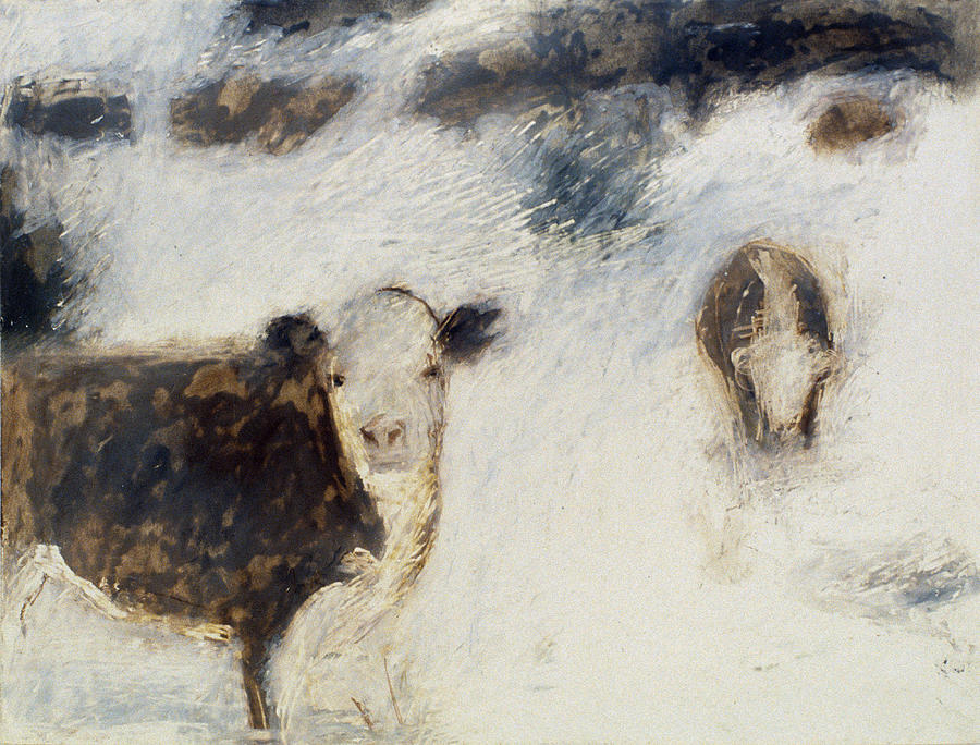 Cows Painting - Cows In Snow by Ruth Sharton