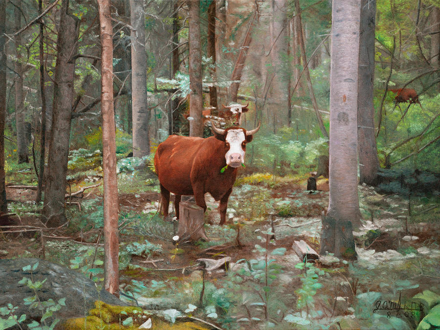 Landscape Painting - Cows In The Woods by Joshua Martin