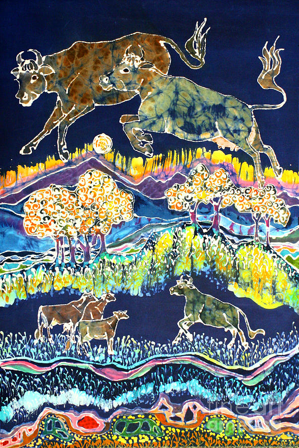 Jersey Cows Tapestry - Textile - Cows Jumping Over The Moon by Carol  Law Conklin