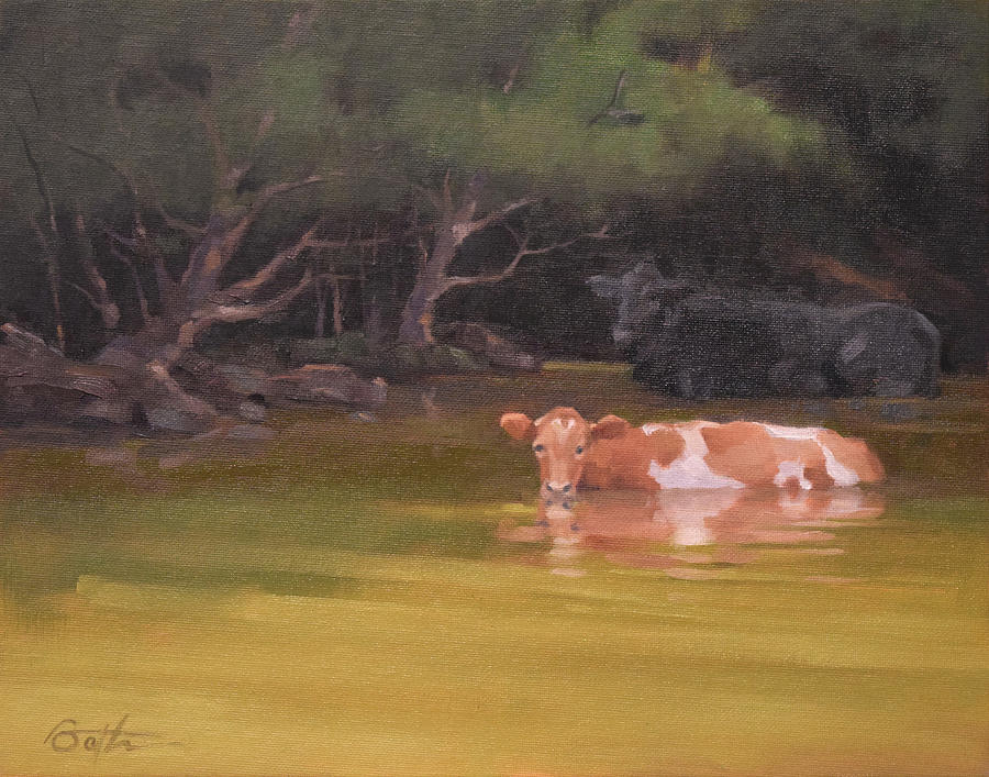 Cow Painting - Cows Just Wanna Have Fun by Todd Baxter