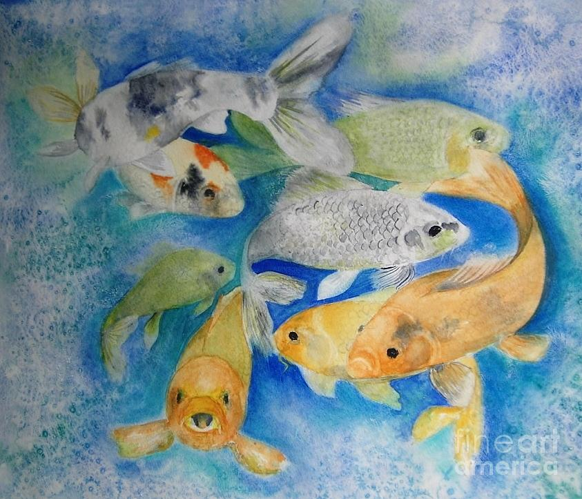 Water Painting - Coy Koi by Vivian  Mosley