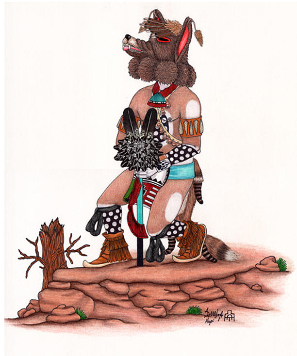 Coyote Kachina Mixed Media by Alfred Dawahoya