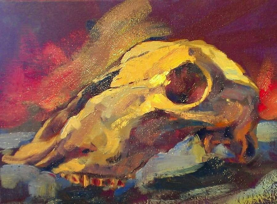 Skull Painting - Coyote skull by Kevin Yuen