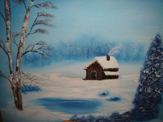 Snow Painting - Cozy Cabin by Tomi Michaels