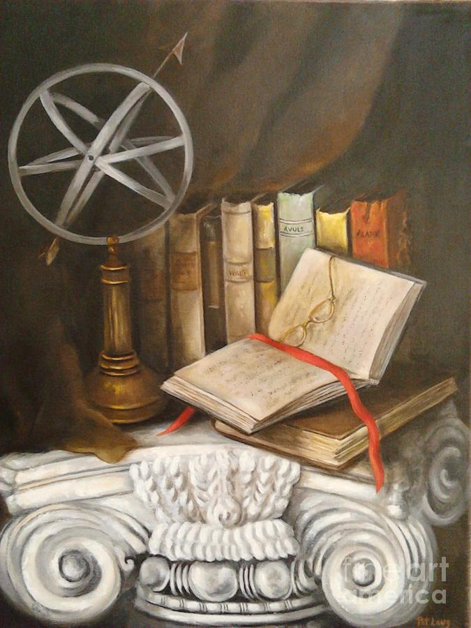 Globe Painting - Traveling by Books by Patricia Lang