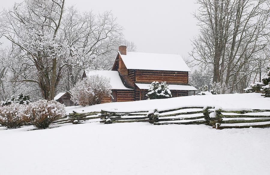 Log Cabin Photograph - Cozy Snow Cabin by J K York