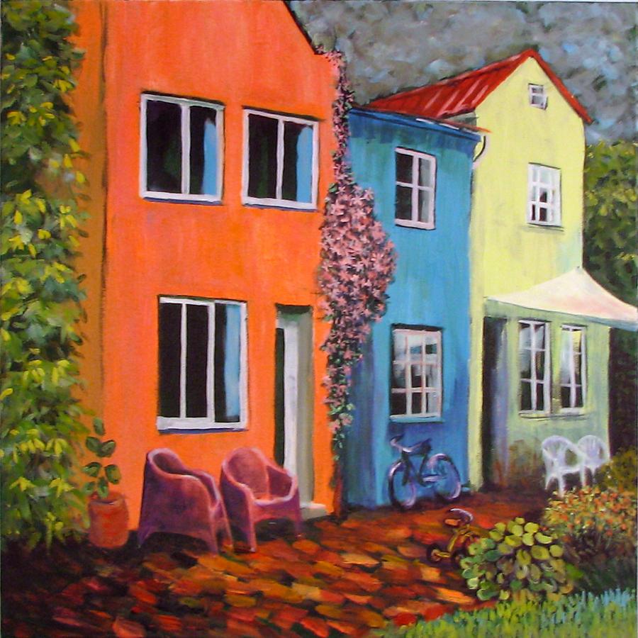 Cozy Painting - Cozy Street by Art Nomad Sandra  Hansen