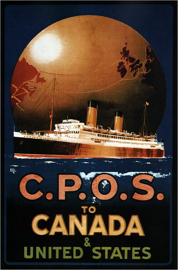 C.p.o.s To Canada And United States - Canadian Pacific - Retro Travel Poster - Vintage Poster Mixed Media