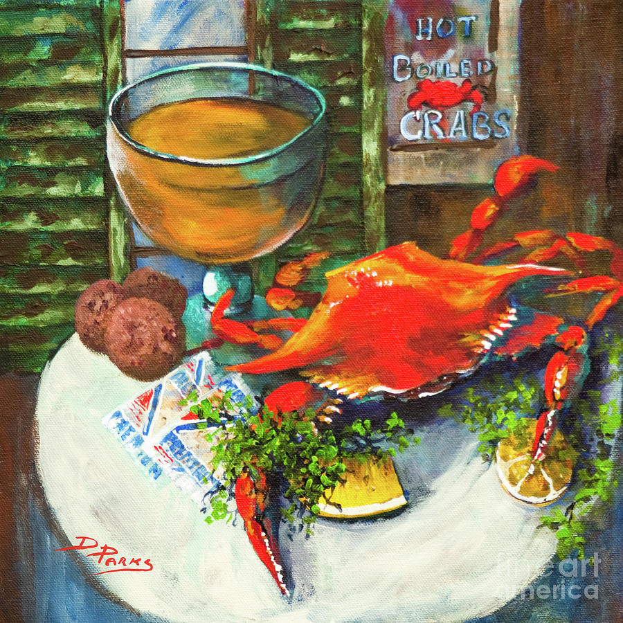 Boiled Crab Painting - Crab And Crackers by Dianne Parks