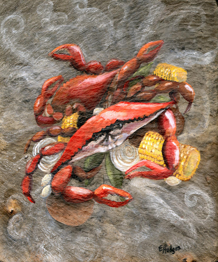 Crab Painting - Crab Boil by Elaine Hodges