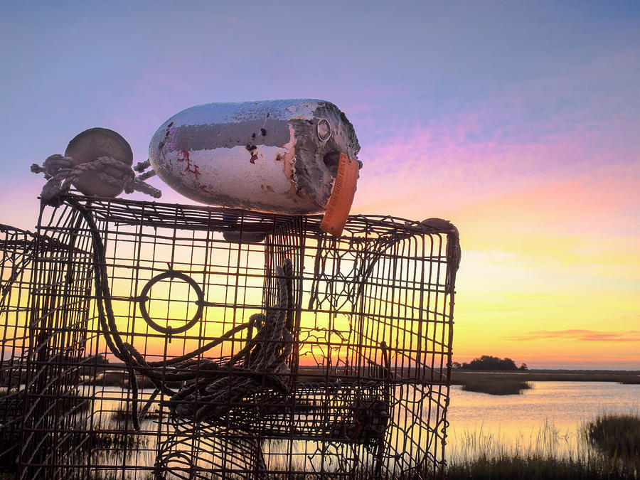CRAB TRAPPED - SUNRISE SUNSET PHOTO ART by Jo Ann Tomaselli