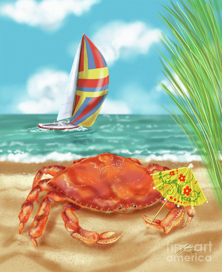 Crab with Cocktail Umbrella by Shari Warren