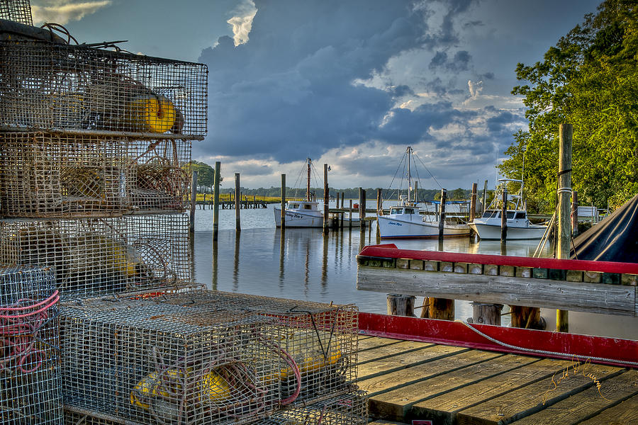 Rescue Photograph - Crabpots And Fishing Boats by Williams-Cairns Photography LLC