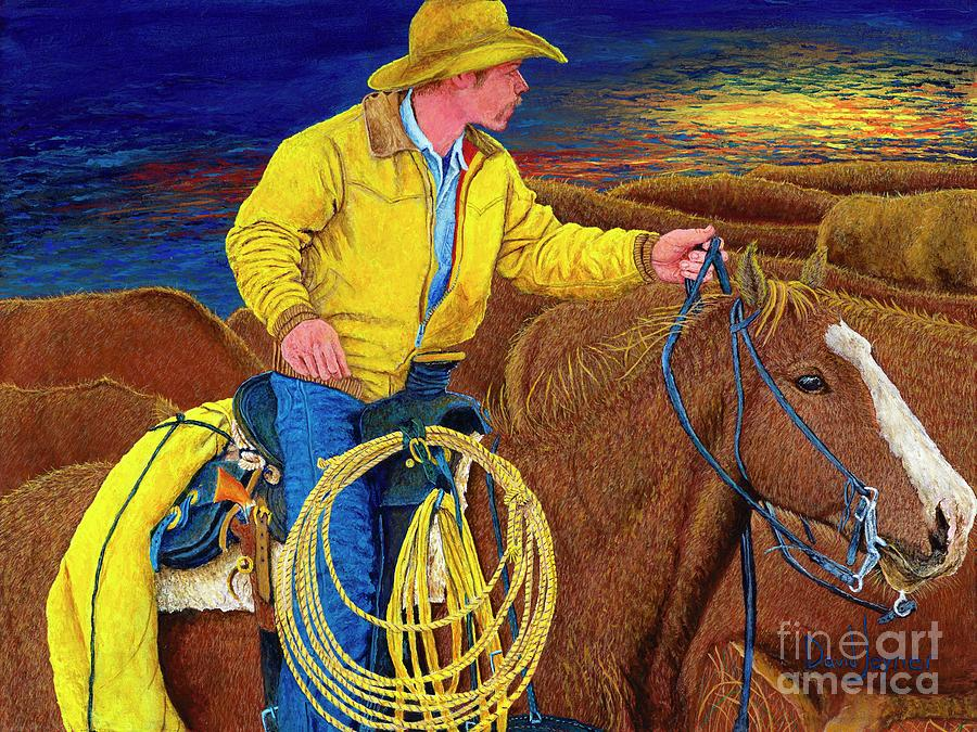 Florida Cracker Cowboy Painting - Cracker Cowboy Sunrise by David Joyner