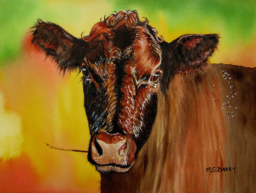 Florida Cracker Cow Painting - Cracker Moo by Maria Barry
