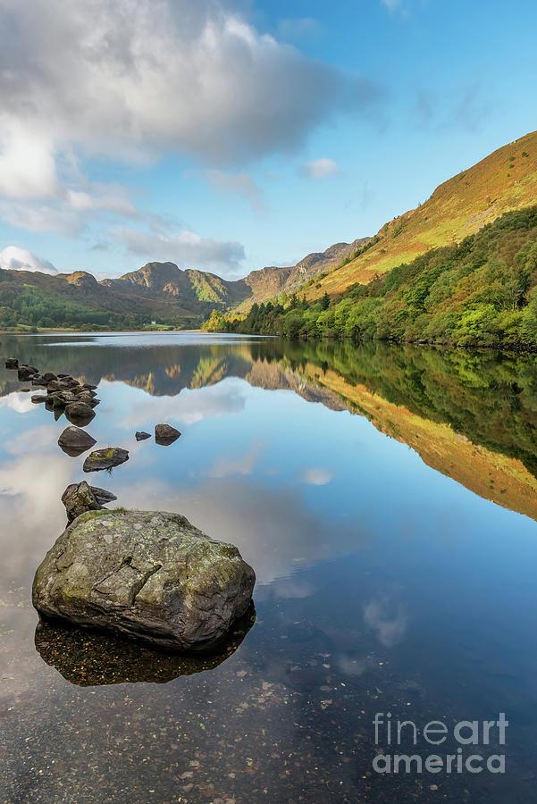 Grass Photograph - Crafnant Lake Snowdonia by Adrian Evans