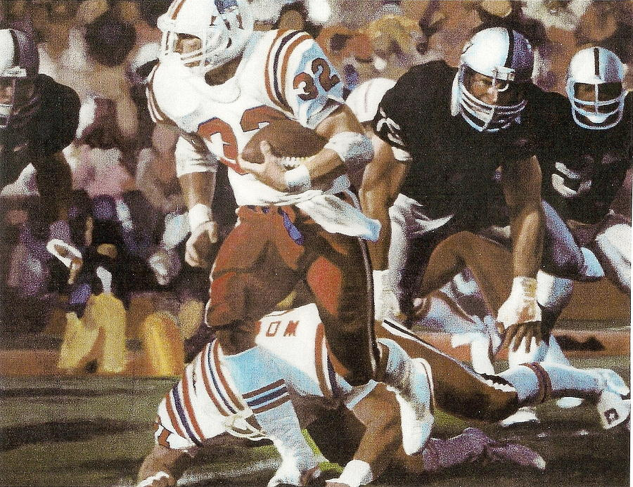 Football Painting - Craig James Breaking Loose by Perrys Fine Art