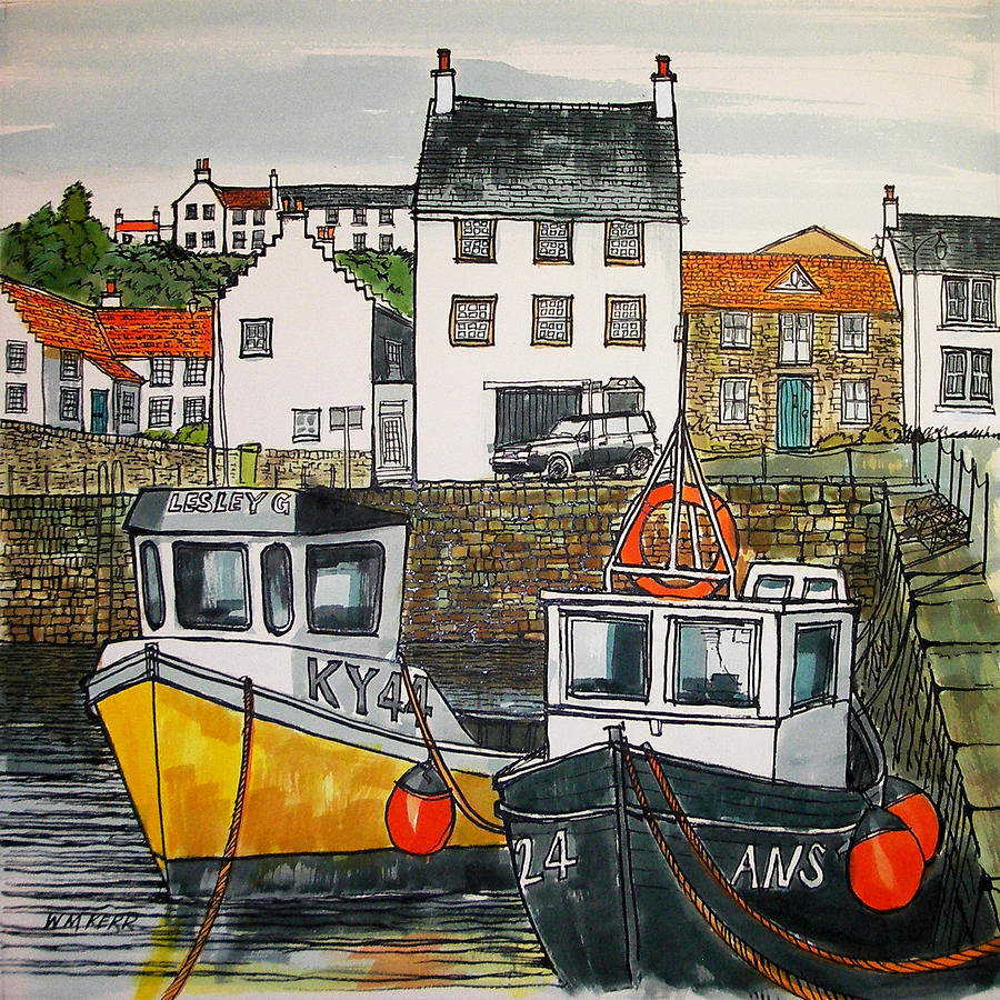 Crail Painting - Crail Harbour, Scotland by William McLean Kerr