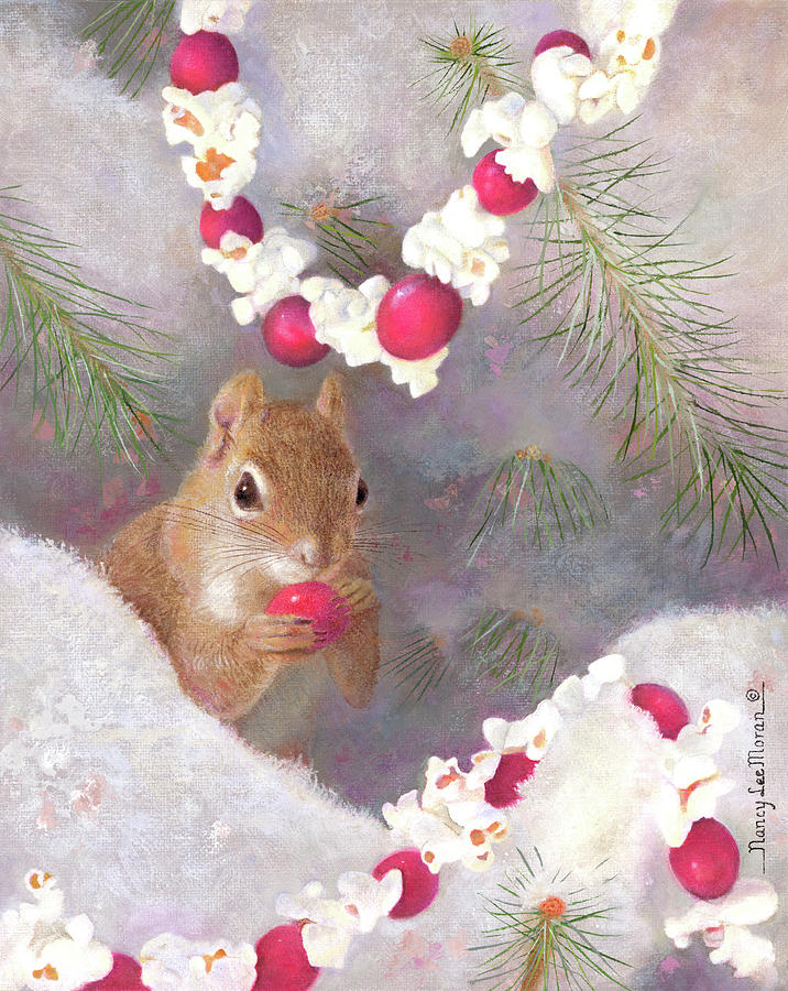 Squirrel Painting - Cranberry Garlands Christmas Squirrel by Nancy Lee Moran