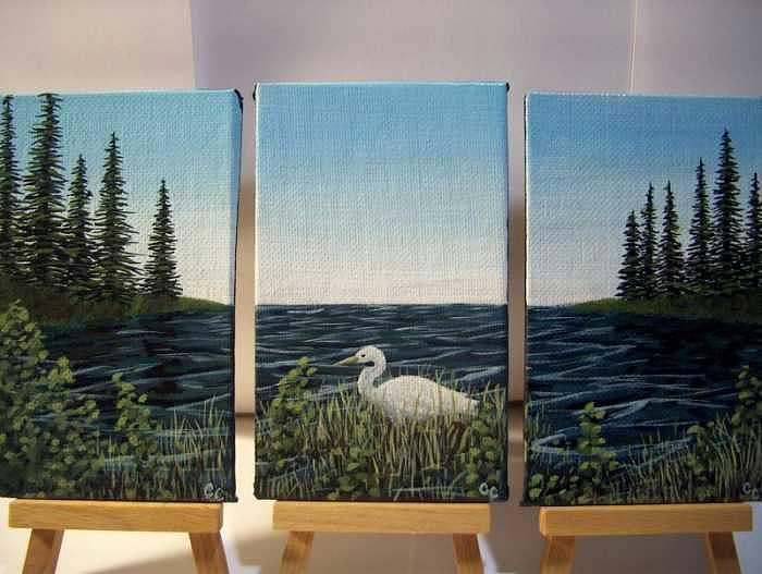 Crane Painting - Crane at Pondside    Tryptych by Cedric Colond