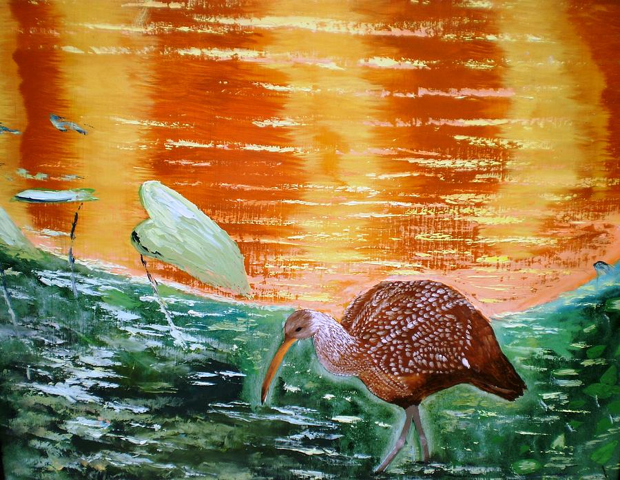 Crane Hunting Minnows Painting by Francis Roberts ll