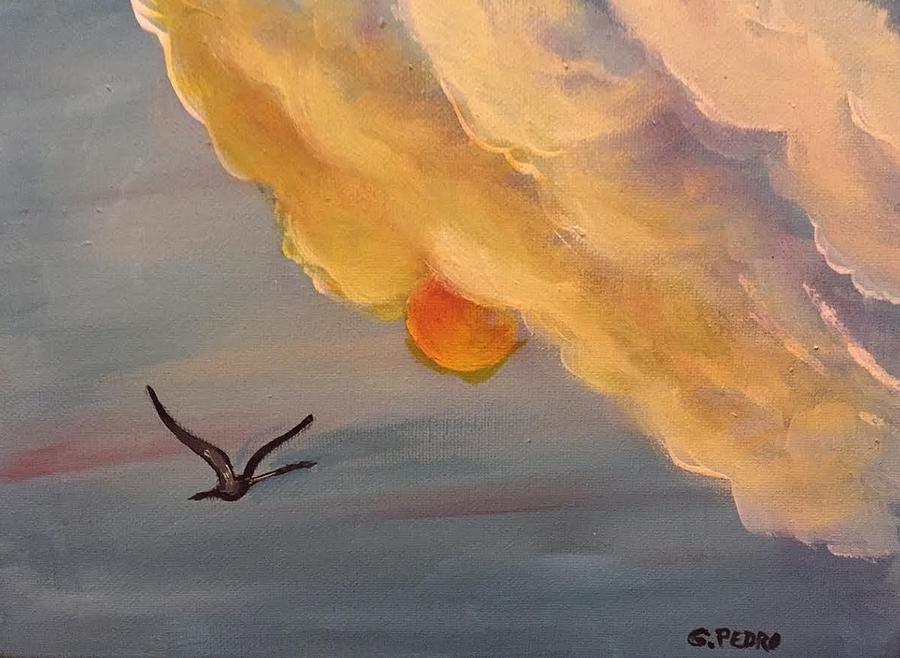 Crane in Flight during a Florida Sunset by George Pedro