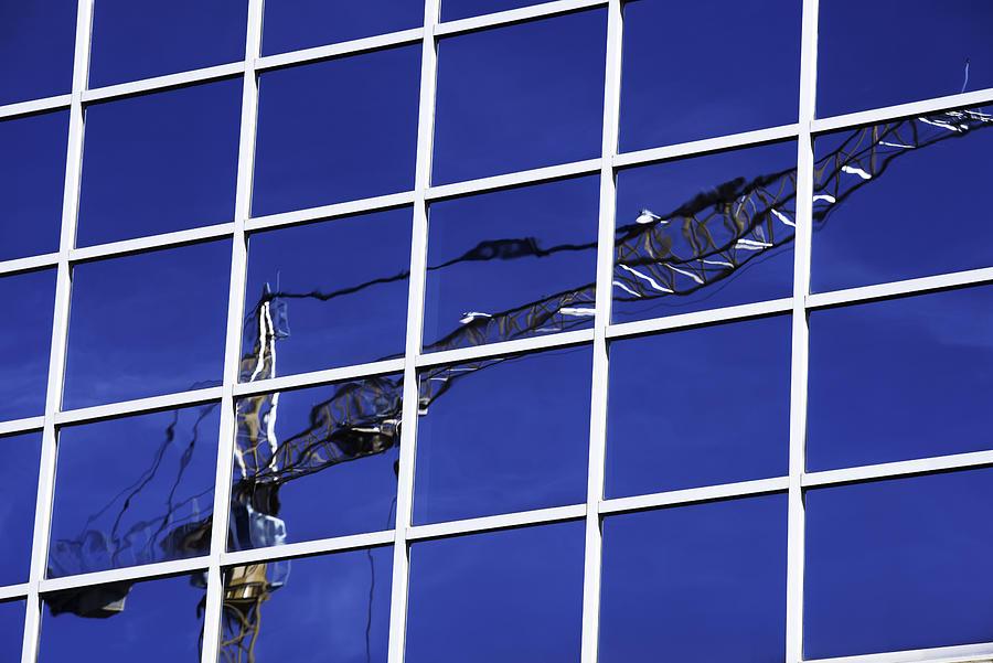 Blue Photograph - Crane Reflection by Kelly E Schultz
