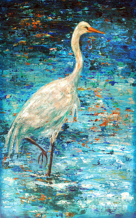 Palette Knife Painting - Crane Reflection by Linda Olsen