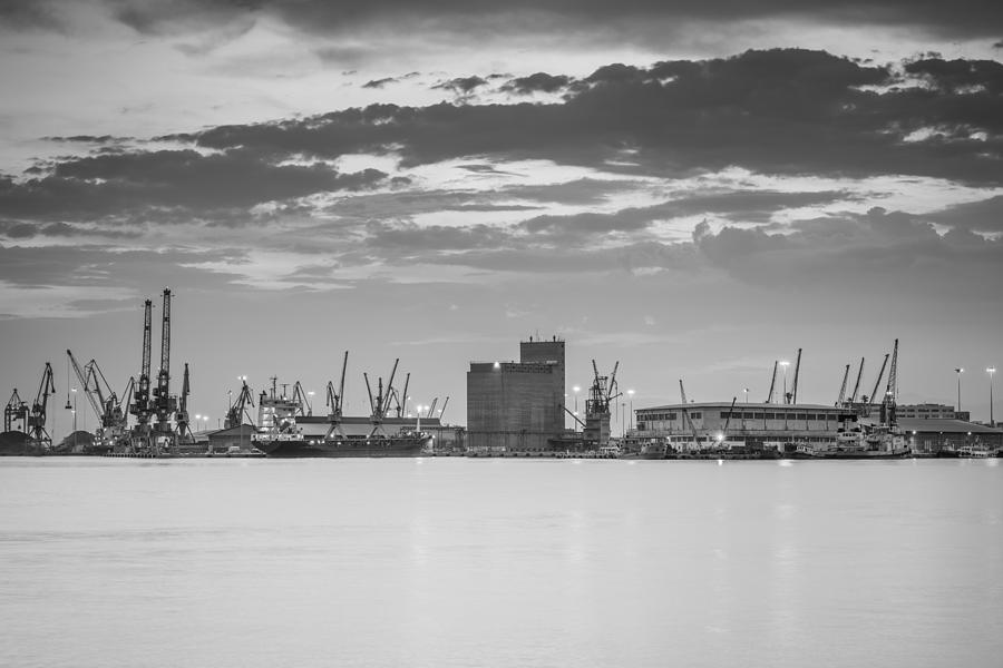 Crane Photograph - Cranes At The Port Of Thessaloniki by Ioannis Vasilakakis