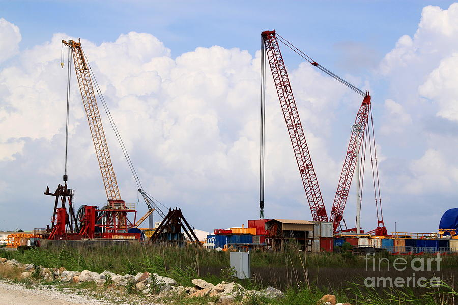 Industrial Photograph - Cranes by Kimberly Saulsberry