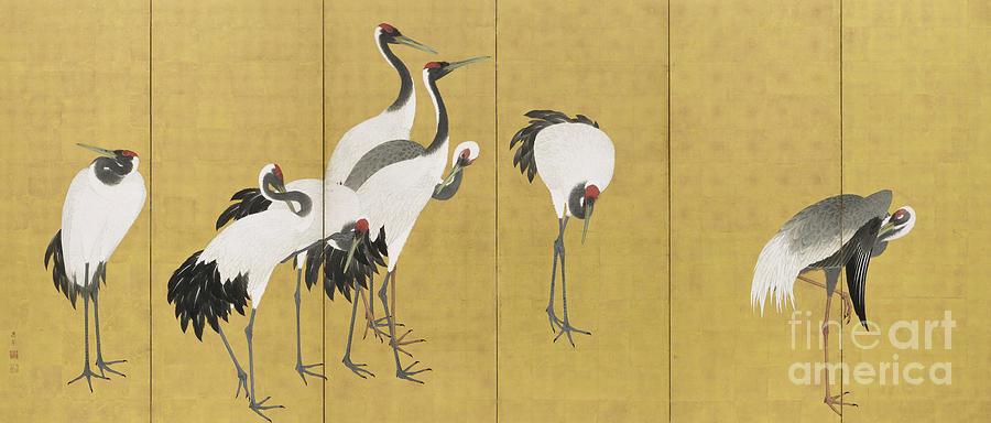 Bird Painting - Cranes by Maruyama Okyo