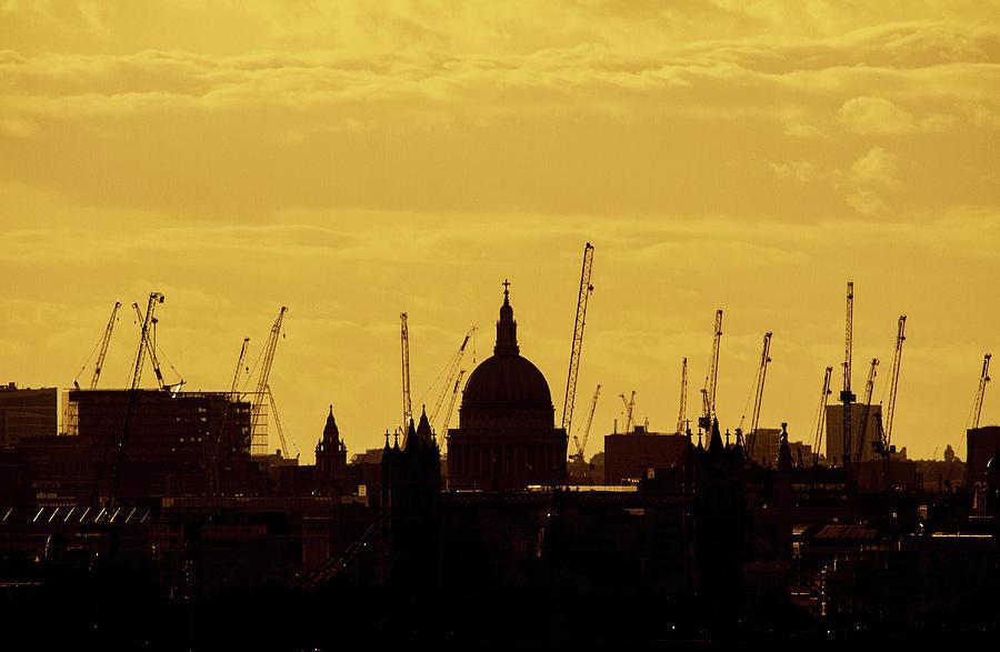 London Photograph - Cranes Over London by Wayne Molyneux