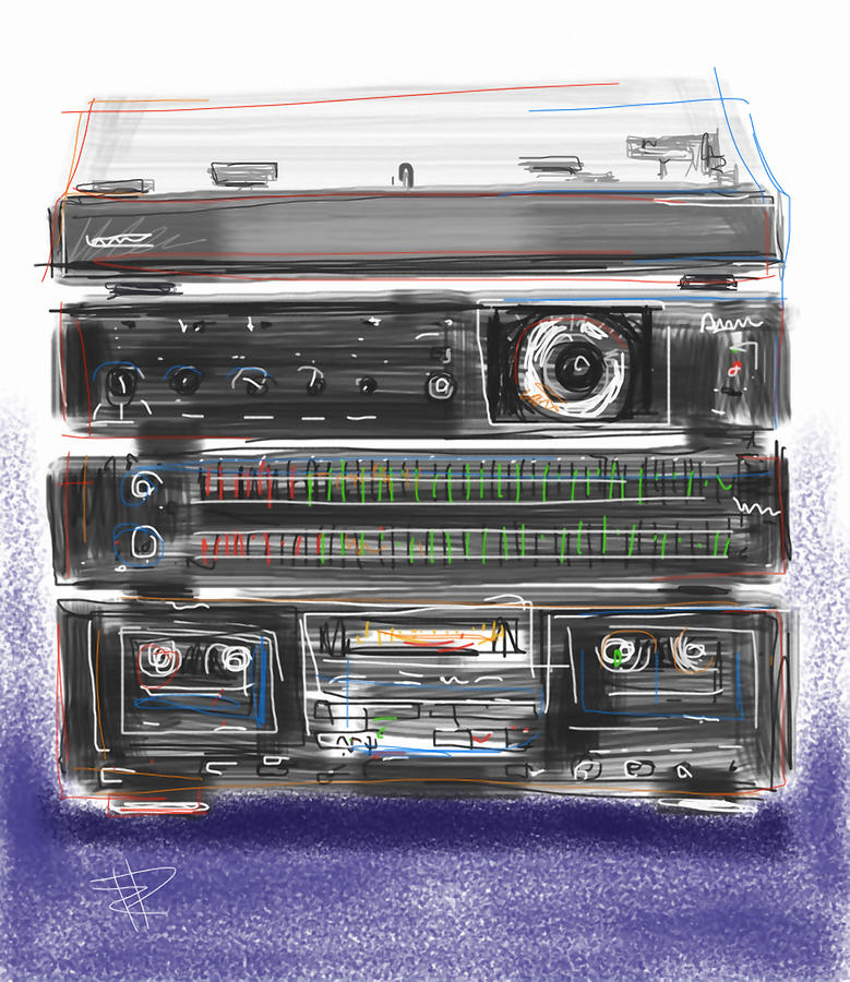 Stereo Mixed Media - Crank It Up by Russell Pierce