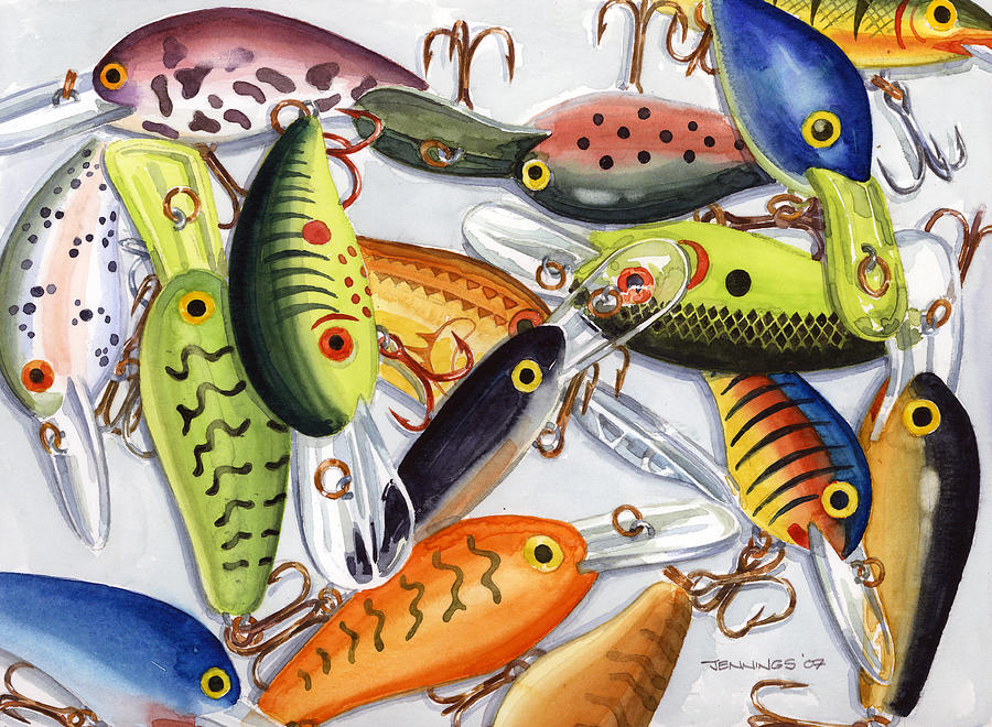 Lures Painting - Crankbaits by Mark Jennings