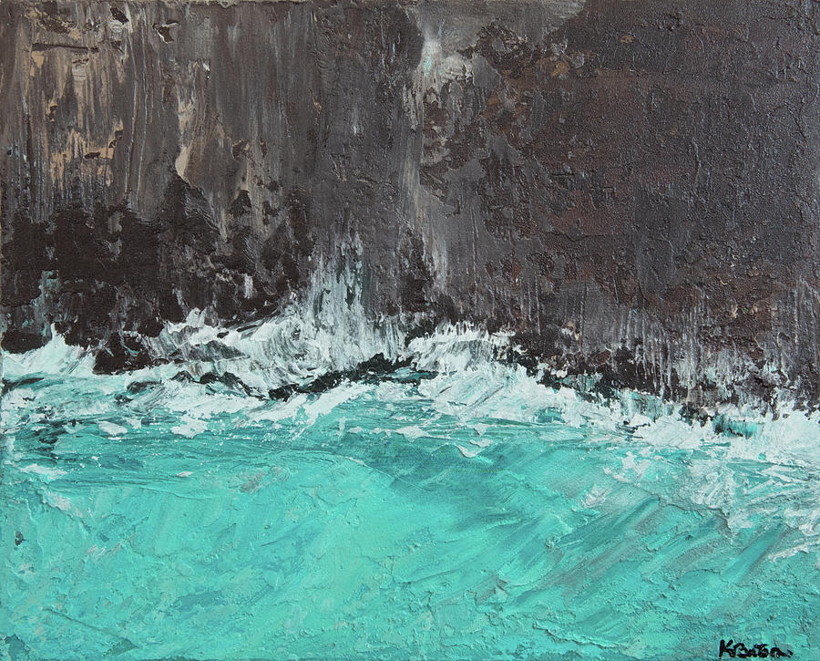 Teal Painting - Crash by K Batson Art