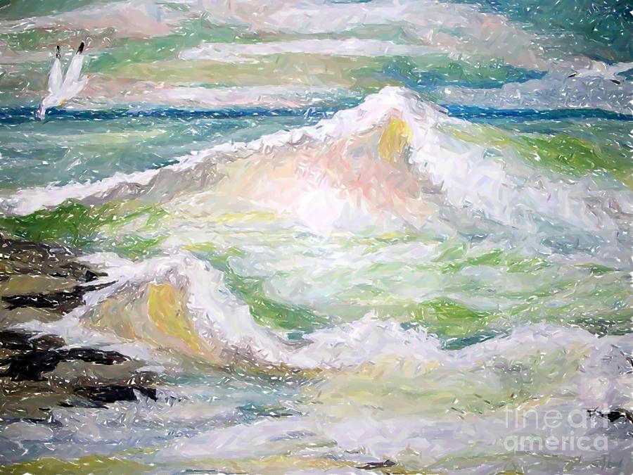 Ocean Painting - Crashing Wave by Carol Grimes