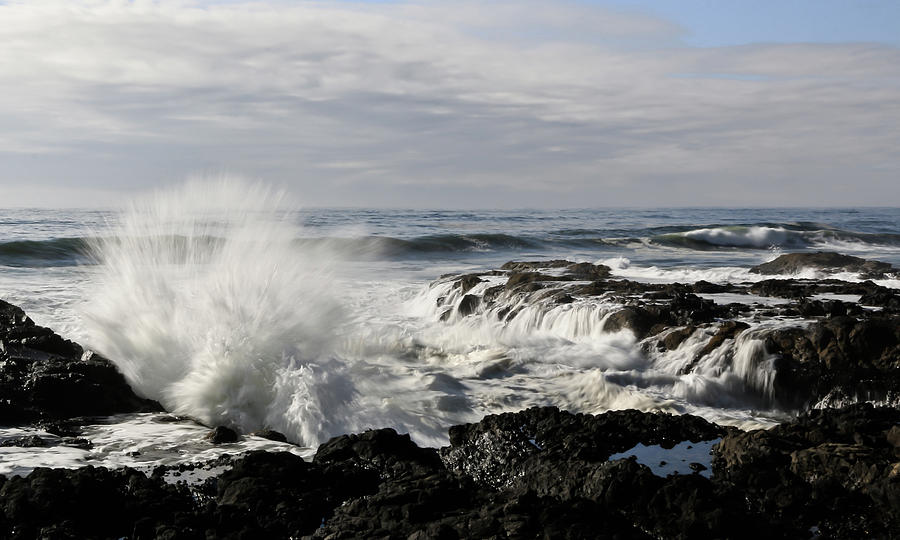 Cape Perpetua Photograph - Crashing Waves At Cape Perpetua by Athena Mckinzie