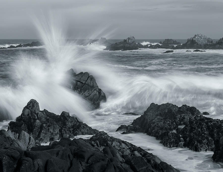 Crashing Waves - Bw Photograph